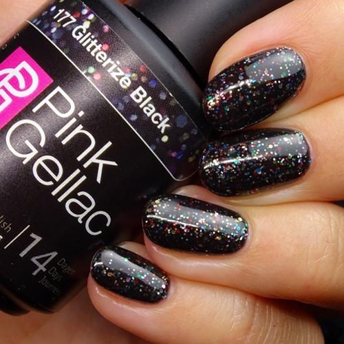 Pink Gellac #177 Glitterize Black