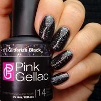 Pink Gellac Glitterize Black 177
