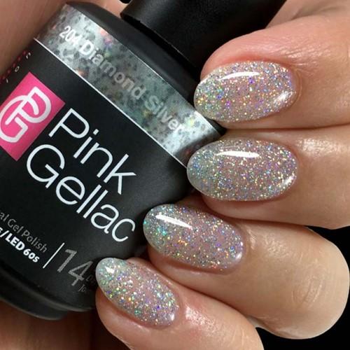 Pink Gellac #204 Diamond Silver