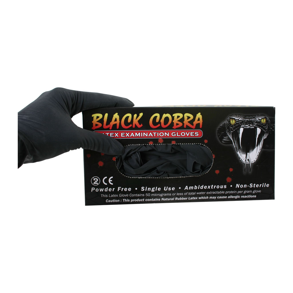 Afbeelding van Latex handschoenen Black Cobra maat - M