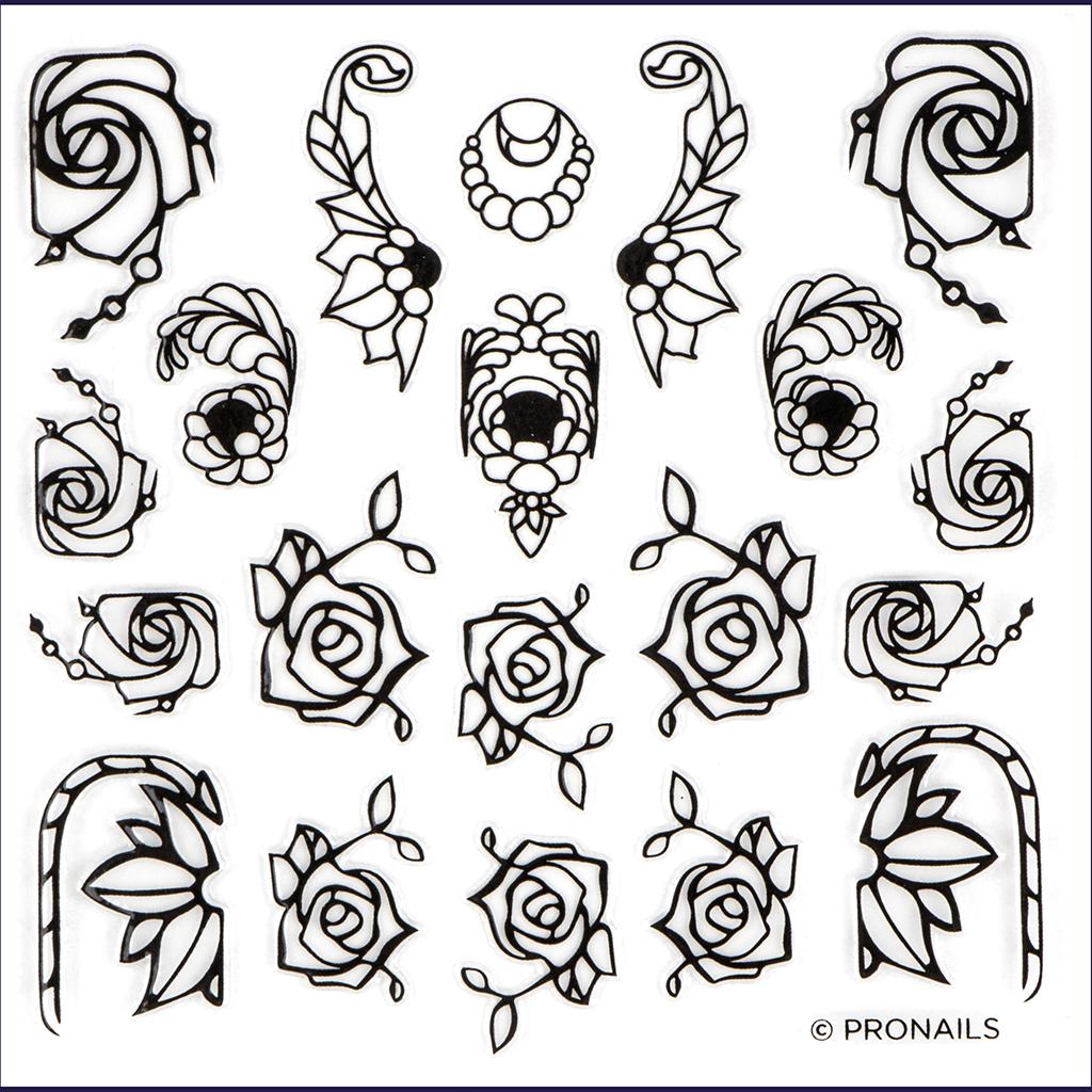 Afbeelding van ProNails Nail Stickers Blooming Bouquet Black