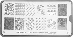 ProNails Stamping Plate Love Your Hands + Scraper
