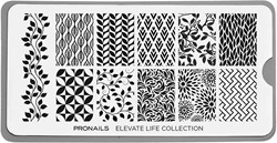 ProNails Stamping Plate Elevate Life Collection + Scraper