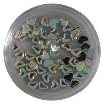 Strass steentjes - Hart zilver rainbow